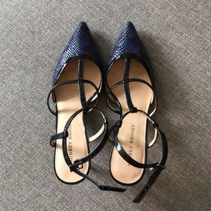 Audrey Brooke blue pointy toe strappy heels
